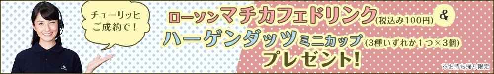 ローソンマチカフェドリンク(税込み100円)&ハーゲンダッツ ミニカップ(3種いずれか1つ×3個)プレゼント!チューリッヒの自動車保険キャンペーン