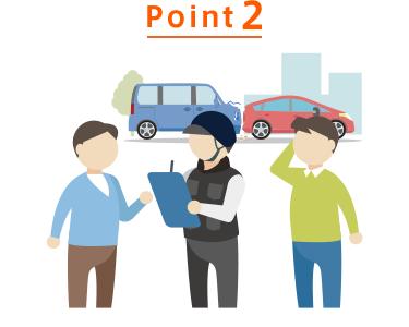Point2 お客さまのご要望があれば事故現場を特定しALSOK隊員がかけつけ、安全確保や救急車の手配、また事故状況の記録や当社への事故連絡等でお客さまをサポートします。